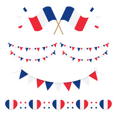 Set, collection of french flags and design elements for French National Day and other public holidays.