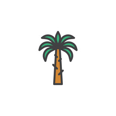 Palm tree filled outline icon, line vector sign, linear colorful pictogram isolated on white. Coconut Palm symbol, logo illustration. Pixel perfect vector graphics