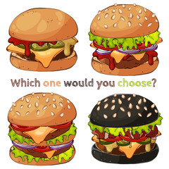 Group of vector colorful illustrations on the fast food theme; set of different kinds of burgers. Pictures contain realistic shadows and glare.
