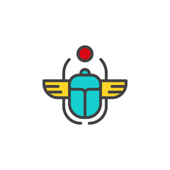 Egyptian Scarab filled outline icon, line vector sign, linear colorful pictogram isolated on white. Winged scarab Beetle and sun symbol, logo illustration. Pixel perfect vector graphics