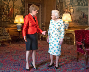 Britain's Queen Elizabeth meets Scotland's First Minister, Nicola Sturgeon, during an audience at the Palace of Holyrood House in Edinburgh