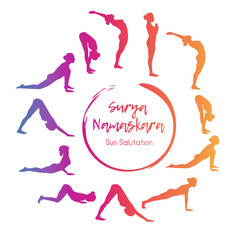 Vector illustration yoga exercise Sun Salutation. Steps of morning gymnastics in colorful gradient with silhouettes of slim woman in different positions in circle composition.