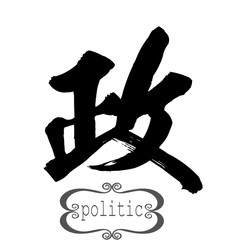 Calligraphy word of politic in white background