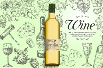 White wine vector poster, banner template
