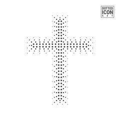 Halftone Christian Cross Isolated on White Background. Half Tone Christian Cross Made of Dots Pattern. Vector Illustration.