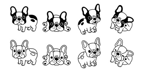 dog vector french bulldog icon logo cartoon character illustration clip art symbol black