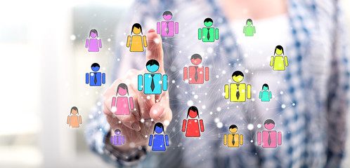Woman touching a social network concept