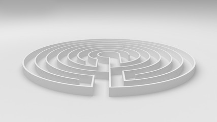 Round white labyrinth maze game with entry and exit, find the way concept, background idea with copy space