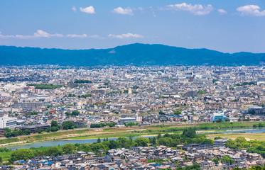 嵐山から眺める京都の町並みと東山