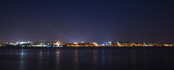 Volga river embankment at night in Samara, Russia. Panoramic view of the city. 3 July 2018