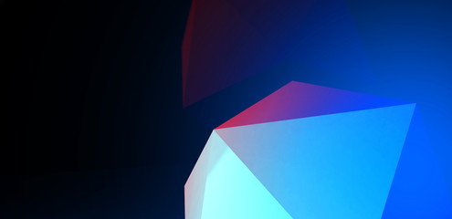 3d render. Abstract background with a polygon, neon light  Neon abstract background with backlight, modern design. White polygons scattered particles