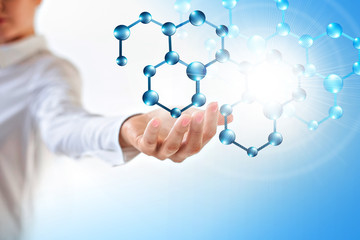 Molecules in the hand, Molecular medical abstraction in the hand. Molecule and atoms abstract background. Medical, chemical, full 3d background