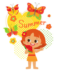 Happy Holidays. Cute Summer Girl Vector. Summer Time Vector Illustration. Cartoon Baby Girl Eating Watermelon On White Background. Color Butterflies And Kids. Happy Childhood Memories.