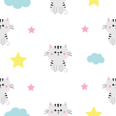 Cat head, hands. Cloud, star shape. Cute cartoon kawaii character. Baby pet collection. Seamless Pattern Wrapping paper, textile template. White background. Flat design.