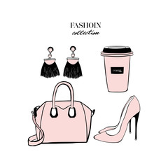 Women's pink accessories set. Bag, high heeled shoes, cup of coffee, earrings tassels. Fashion design card isolate on white background. Perfect for logo, poster, print. Vector Illustration