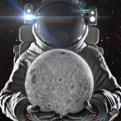 Return to the moon . Astronaut holding the earth orbiting moon. Exploration and journey to the Moon concept. 3d rendering .Elements of this image furnished by NASA