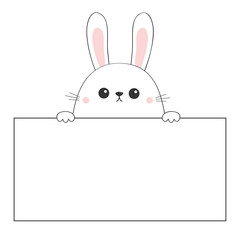 Rabbit happy face head icon hanging on paper board template. Pink cheeeks. Paw hands. Contour line. Funny baby hare. Cute cartoon character. Love card. Kawaii animal. Flat design White background