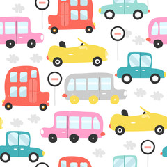Colorful retro cars seamless pattern. Vector hand drawn illustration.