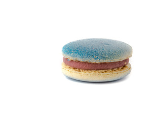 Blueberry macaroon isolated on white background. Studio shot delicious and colorful French macaroon. Pastel colors of sweet food dessert, delicacy, colorful cookies, minimal concept