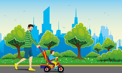 Father and child on a tricycle on a city background.
