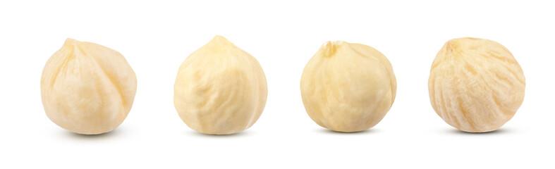 Collection set macro shot of four fresh raw peeled filbert hazelnut isolated on white background.