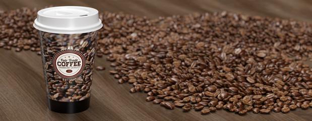 Panorama Kaffee To Go zwischen vielen Kaffeebohnen