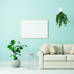 Leerer weißer Bilderrahmen über Couch