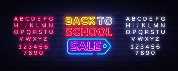 Back to school sale neon sign vector. Back to school Design template neon sign, light banner, neon signboard, bright advertising, light inscription. Vector illustration. Editing text neon sign