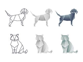 Set of vector japanese origami cat and dog