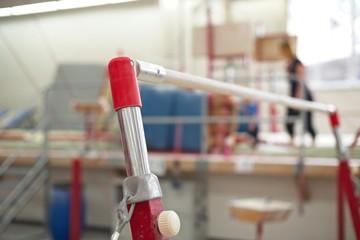 Uneven bars close up. Gymnastics equipment