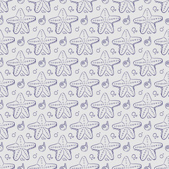 Hand drawn sea shell and starfish seamless pattern