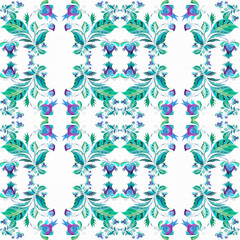 Decorative composition on the background of watercolor paper.Watercolor. Pattern in ethnic style. Flower composition. Stylized flowers. Seamless background.