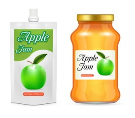 Apple jam packaging vector realistic mockup set