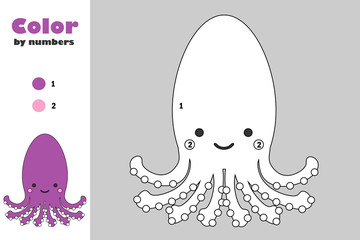 Octopus in cartoon style, color by number, education paper game for the development of children, coloring page, kids preschool activity, printable worksheet, vector illustration