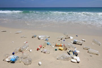 Plastic garbage pollution on beach and in ocean