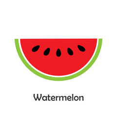 Watermelon slice in cartoon style, card with fruit for kid, preschool activity for children, vector illustration