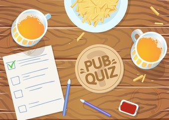 Quiz night in the pub. Wooden pub table with quiz list, fries and beer. Vector illustration. Horizontal.