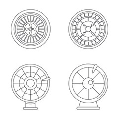 Roulette wheel fortune icons set. Outline illustration of 4 roulette wheel fortune vector icons for web