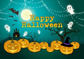 かぼちゃとお化けのキラキラハッピーハロウィーン