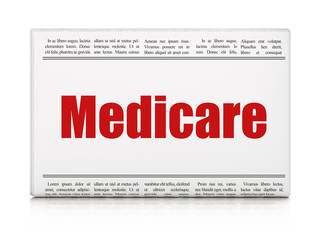 Healthcare concept: newspaper headline Medicare on White background, 3D rendering