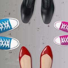 famille - concept - parent - enfant - chaussure - éducation - symbole - génération - père - mère - fille - fils