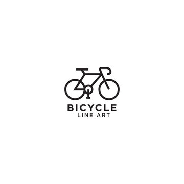 Bicycle line art logo design template