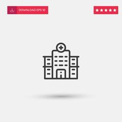 Outline Hospital Icon isolated on grey background. Modern simple flat symbol for web site design, logo, app, UI. Editable stroke. Vector illustration. Eps10