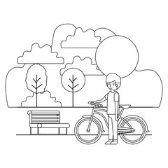 man in the park with bicycle vector illustration design