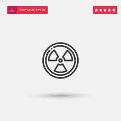 Outline Radiation Icon isolated on grey background. Modern simple flat symbol for web site design, logo, app, UI. Editable stroke. Vector illustration. Eps10