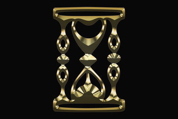 Gold hourglass on a black background