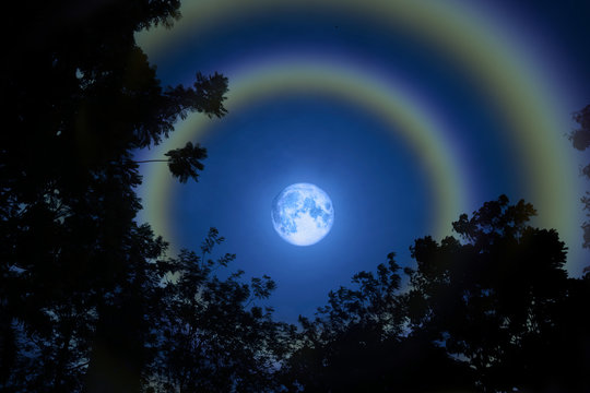 moon halo double rainbow silhouette grass colorful sky