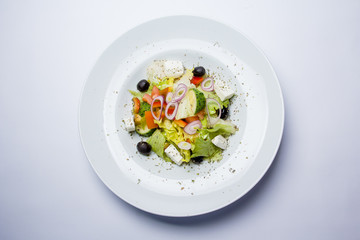 Greek salad. View from above