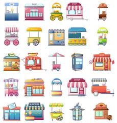 Street food kiosk icons set. Cartoo illustration of 25 street food kiosk vector icons for web