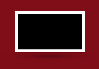 Frame of TV. Empty led monitor of computer or black photo frame isolated on a transparent background. Vector blank screen lcd, plasma, panel or TV for your design.